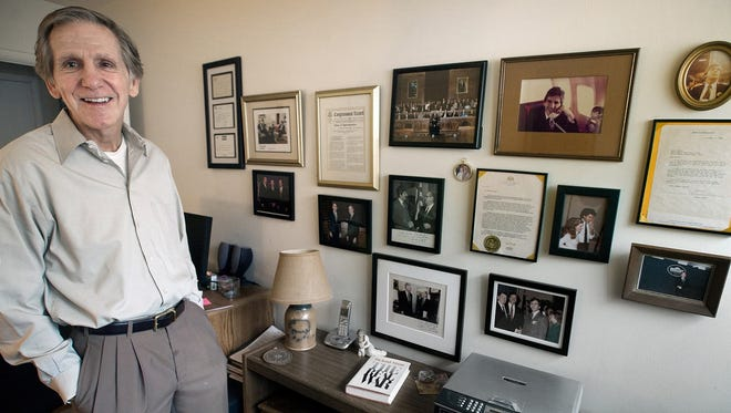 Kevin Talley with his political memorabilia dating back to the era of Watergate in Springettsbury Township Monday March 12, 2013. YORK DAILY RECORD/SUNDAY NEWS - PAUL KUEHNEL Watergate 40th anniversary