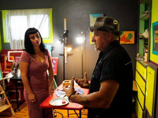 Roswell and Robb Rocket talk about their art studio Oct. 10 at their home in Farmington.