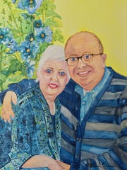 A painting of Peggy Gilmer, left, and her son, Chris, by Brenda Hinson.