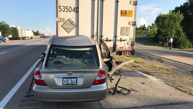 A crash on I-71/75 south shut down two lanes of the interstate on Thursday.