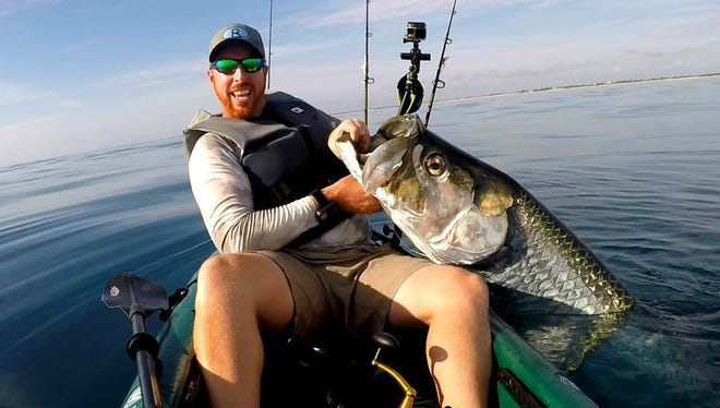 Ryan Wood, of Malabar and of RWood Outdoors on YouTube, caught and released this 100-pound plus tarpon last year off Melbourne Beach. This is the time of year to target tarpon just off area beaches of the Treasure and Space Coast.