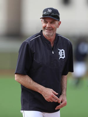 Former Tiger Kirk Gibson worked with players during a workout in spring training on Feb. 19, 2017, in Lakeland, Fla.