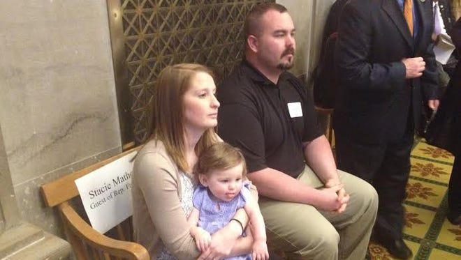 Stacie and Logan Mathes watch the Tennessee House of Representatives on Monday evening. Lawmakers approved a bill to allow limited cannabis oil usage for medical purposes.