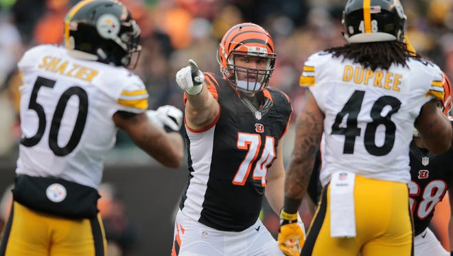 Cincinnati Bengals offensive tackle Jake Fisher (74) lines up at right tackle in the first quarter during the Week 15 NFL game between the Pittsburgh Steelers and the Cincinnati Bengals, Sunday, Dec. 18, 2016, at Paul Brown Stadium in Cincinnati.