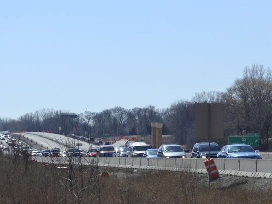Traffic is backed up on northbound U.S. 41 near Lombardi Avenue in Green Bay as motorists approach the scene of a multi-vehicle accident on the highway south of Mason Street in the early afternoon Saturday, March 28.
