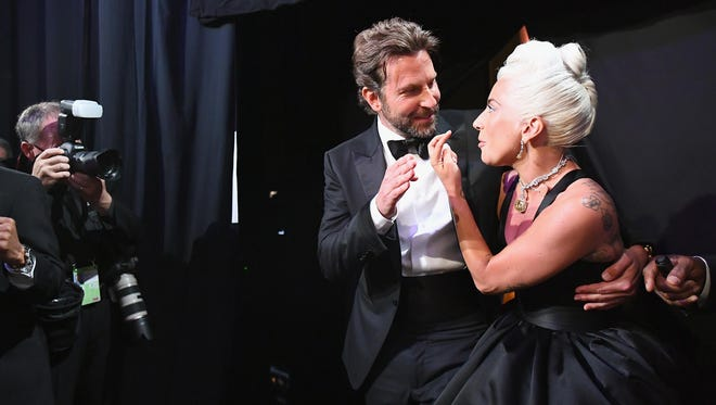 Bradley Cooper and Lady Gaga backstage during the 91st Annual Academy Awards at the Dolby Theatre on February 24, 2019 in Hollywood, California.