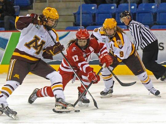 CORRECTION NCAA Minnesota Wisconsin Hockey