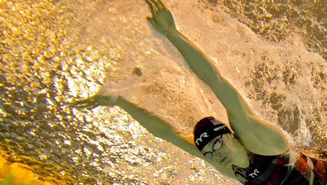 U of L swimmer Kelsi Worrell competing at last month's Pan American Games.