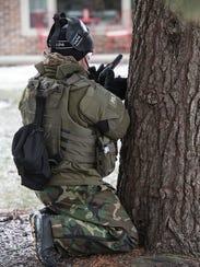 Providing cover for the team.