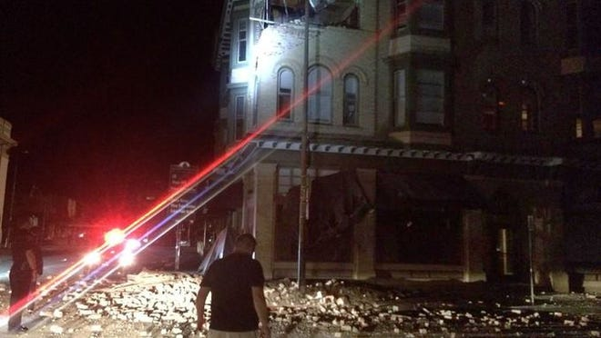 A building is damaged in Napa, Calif., on Aug. 24, 2014 after a 6.0 magnitude quake hit the area.