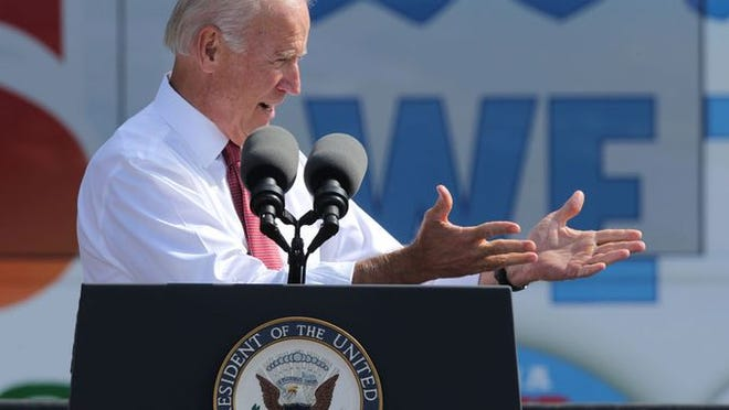 Vice President Joe Biden speaks today, Sept. 17, 2014, at the Iowa Capitol.