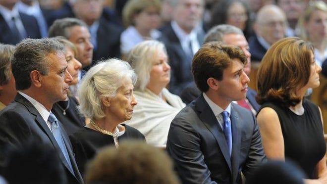 John M. Seigenthaler, Deloros Watson Seigenthaler, Jack Seigenthaler and Kerry Brock at John Seigenthaler's funeral at the Cathedral of the Incarnation on Monday, July 14, 2014, in Nashville.
