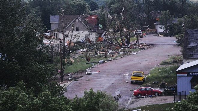 Daylight on Thursday reveals damage done Wednesday, June 18, 2014, by a tornado in Wessington Springs.
