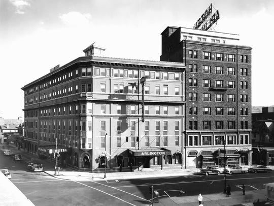 The Arlington Hotel when it was home to WNBF, about 1950.