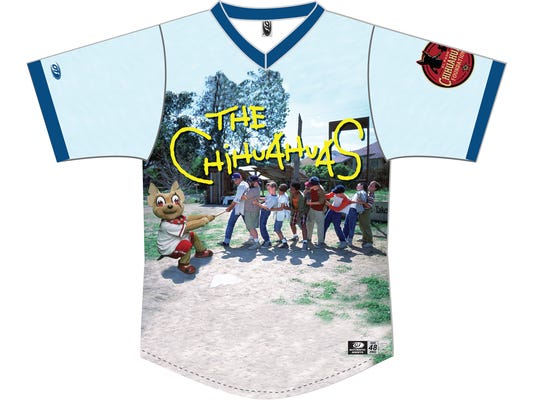 The front side of the El Paso Chihuahuas special 'The Sandlot' themed jersey.