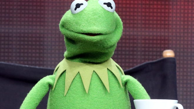 """Kermit the Frog is shown at a """"The Muppets"""" event on August 4, 2015 in Beverly Hills, California."""
