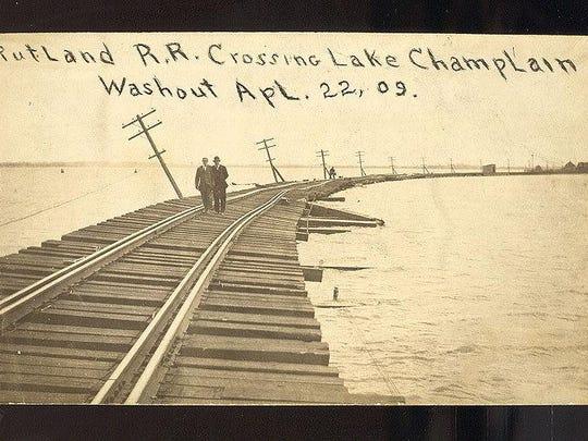 Rutland Railroad crossing Lake Champlain during washout on April 1909.