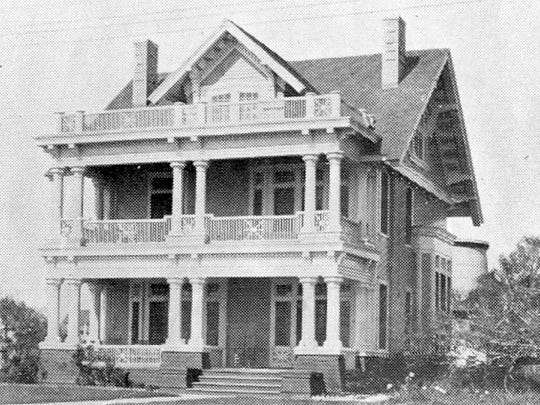 The Joseph Hirsch home was built at 411 South Broadway in 1910. The house was moved to Carancahua in 1946 to make room for a YMCA expansion. It was razed in 1956.