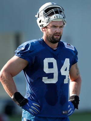 Indianapolis Colts defensive end Margus Hunt (94) during preseason training camp Monday, July 31, 2017, morning at the Colts complex.