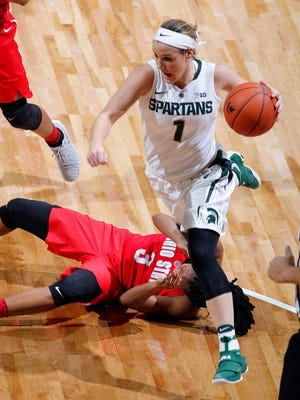 Michigan State's Tori Jankoska drives over a fallen Ohio State star Kelsey Mitchell during the Spartans' 94-75 win Tuesday. Jankoska scored a school-record 42 points in the upset win.