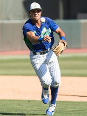 Florida Gulf Coast's Richie Garcia makes a throw to first for the final out of an NCAA baseball tournament regional game against Michigan in Chapel Hill, N.C. on Friday, Jun. 2, 2017.