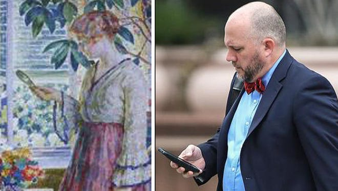 Left: Sunlit Window, by Louis Ritman, 1918, collection of the Indianapolis Museum of Art, Feb. 16, 2017. Right: A man checks cellphone, Downtown Indianapolis.