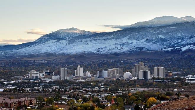 Reno skyline after the season's first snowfall on Nov. 3, 2015.