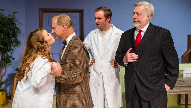 Nurse Kelly (Alexa Roddenberry) and Elwood Dowd (Tim Nettles) go in for a kiss while Dr. Chumley (Duncan Hoen) and Wilson (Mickey Clickner) look on in dismay.