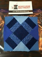 William Fulcher chose shades of blue for the quilt square in honor of his father, who was shot and killed when William was 13.