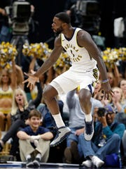 Indiana Pacers guard Lance Stephenson (1) reacts after