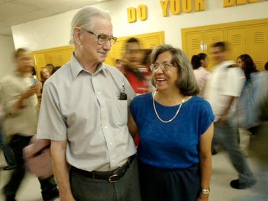 Elroy and Phoebe Bode at Austin High School in 2004.