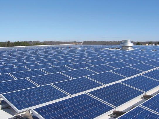 The solar array on the National Gypsum Company plant