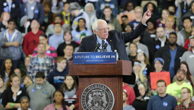 Detroit Free Press Democratic presidential candidate Bernie Sanders speaks to a packed crowd of supporters at the Convocation Center at Eastern Michigan University in Ypsilanti on Feb. 15.
