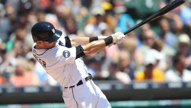 Tigers second baseman Ian Kinsler singles during the first inning of the Tigers' 11-4 loss Thursday at Comerica Park.