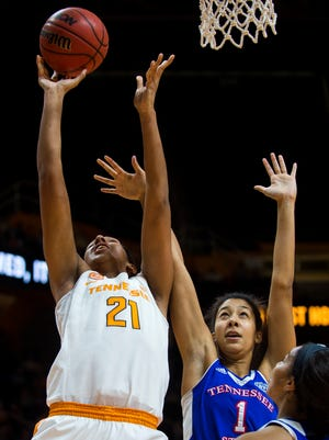 Tennessee's Mercedes Russell (21) attempts a shot during the first half against Tennessee State at Thompson-Boling Arena on Wednesday, Nov. 30 2016.