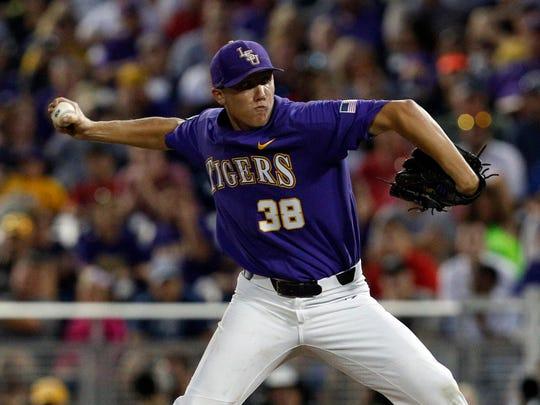 Jun 27, 2017; Omaha, NE, USA; LSU Tigers pitcher Zack
