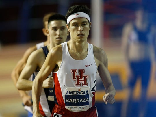 Houston competes in the American Conference indoor track championships at the Birmingham Crossplex, Friday Feb. 24, 2017 in Birmingham, Ala. (Photo/Hal Yeager)