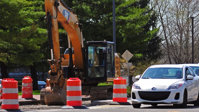 Work has temporarily come to a halt on the Stellar Streets project along East Main between First and Fifth streets.