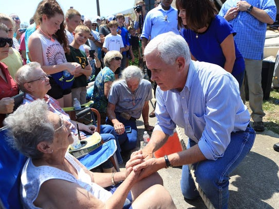 Vice President Mike Pence meets with victims of Hurricane