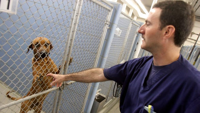 Veterinarian Greg Berry greets a kenneled dog at the Animal Rescue League's Animal Care and Control Center, 1615 S.E. 14th St., in 2005. Berry died unexpectedly from a massive heart attack Tuesday.