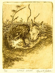 """""""Little Dear,"""" woodblock print by Erin Nolan, who gives"""