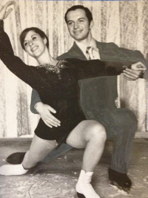 Judy Schwomeyer and and Jim Sladky laced up their skates early so they could be the first dancers to practice on Olympic ice.  1971 Star File Photo