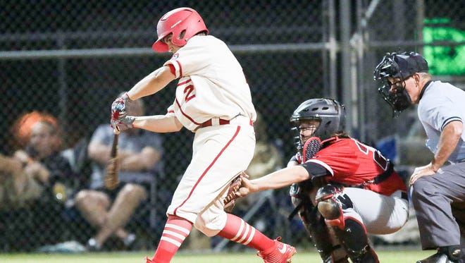 Hunter Balck (2) and the Greenville Red Raiders defeated South Aiken 5-1 in the first round of the Class AAAA District I baseball tournament Tuesday night.