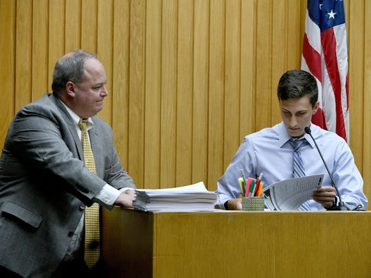 Noah Walton on the stand with Assistant District Attorney Kevin Allen, left, during the trial of William Riley Gaul Thursday, May 3, 2018. Gaul, a former Maryville College football player, is charged in the 2016 shooting death of his 16-year-old ex-girlfriend Emma Jane Walker.