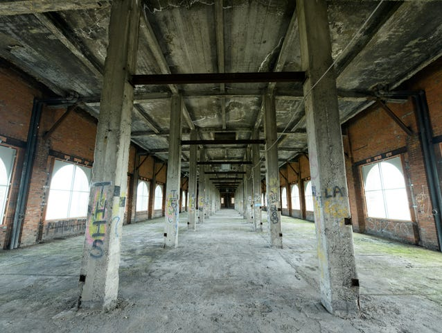 While the public would 300,000-square-feet on the ground floor of the station and other Corktown properties, 2,500 Ford employees and 2,5000 partner employees would occupy the remaining 900,000 square feet come 2022.  This is the top floor.