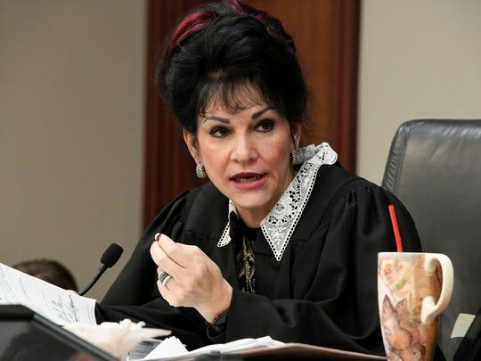 Judge Rosemarie Aquilina speaks to defendant Larry