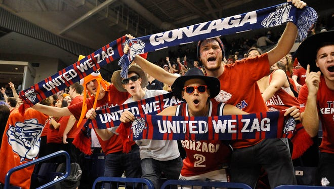 Gonzaga students cheer during a game against Saint Thomas Aquinas  on Nov. 22, 2014, at McCarthey Athletic Center in Spokane.