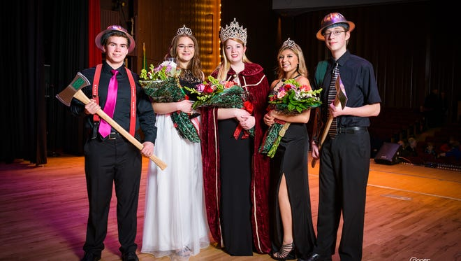 From left to right, Shelton High School senior Gregory Jenney as Timber the Axe Man, CHOICE Alternative High School junior Trinity Fewell as Princess of Hemlock, Shelton High School senior Jessica Schreiber as Queen of the Forest, Shelton High School junior Julia Castro as Princess of Cedar and Shelton High School senior Spencer Burris as Paul Bunyan are the 2018 Mason County Forest Festival Royalty Court. The Paul Bunyan parade is Saturday, June 2.