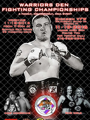 Fight poster for the upcoming MMA event in Dickson hosted by the Warriors Den.