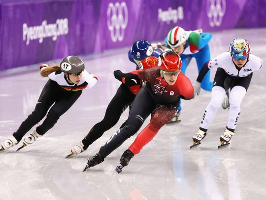 Yutong Han of China, Marianne St Gelais of Canada, Martina Valcepina of Italy, Jessica Kooreman of the United States, Kathryn Thomson of Great Britain, Anna Seidel of Germany compete during the Short Track Speed Skating Ladies' 1500m heats on day eight of the PyeongChang 2018 Winter Olympic Games at Gangneung Ice Arena on February 17, 2018 in Gangneung, South Korea.